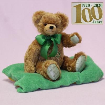 Der Bär im grünen Dreieck (Mohairfarbe messing-braun) 34 cm Teddybär