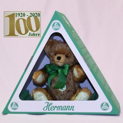 Der Bär im grünen Dreieck (Mohairfarbe messing-braun) 34 cm Teddy Bear