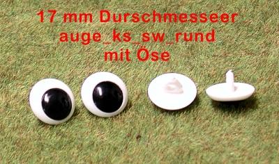 Kunststoff Bastelaugen, schwarz/weiß mit Öse (17 mm)