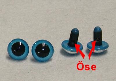 Kunststoff Bastelaugen, rund, Farbe dunkel-blau, mit Öse, 15 mm