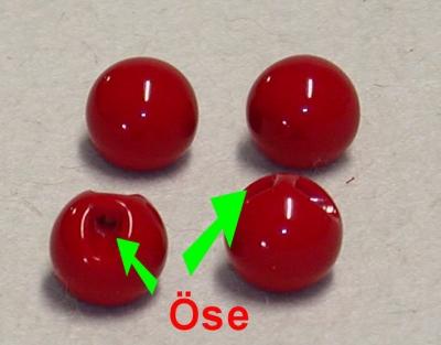 Kunststoff Kugel mit Öse, 17 mm, rot oder grün