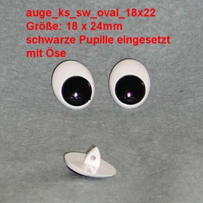 Kunststoff Bastelaugen, schwarz/weiß mit Öse oval (18x22mm)