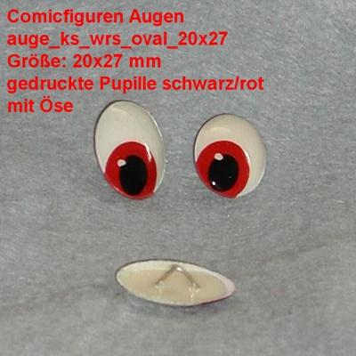 Comicfiguren Kunststoff Bastelaugen (rot/schwarz) mit Öse oval (20x27mm)