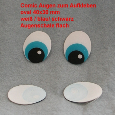 Comicfiguren Kunststoff Bastelaugen (weiß/blau/schwarz) oval 40x30 mm