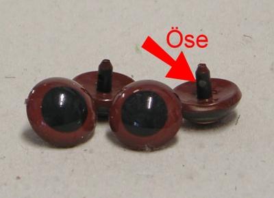 Kunststoff Bastelaugen, rund, braun mit Öse 30 mm
