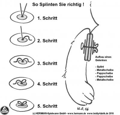 Splint und Scheiben Set Maximilian Teddygröße ca. 32 cm