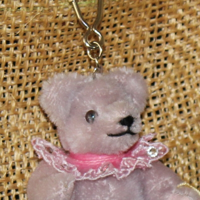 Teddy-Pendant lilac Miniature- Mohair-Teddy Piccolo 11 cm Teddy Bear by Hermann-Coburg
