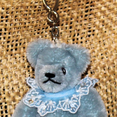 Teddy-Pendant Sky-blue Miniature- Mohair-Teddy Piccolo 11 cm Teddy Bear by Hermann-Coburg