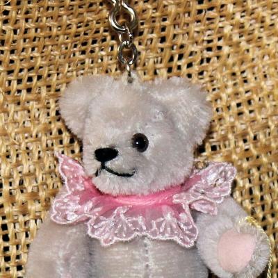 Teddy-Pendant light grey Miniature- Mohair-Teddy Piccolo 11 cm Teddy Bear by Hermann-Coburg