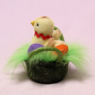 Anni - miniature mohair baby chicken in a basket 8 cm Teddy Bear by Hermann-Coburg