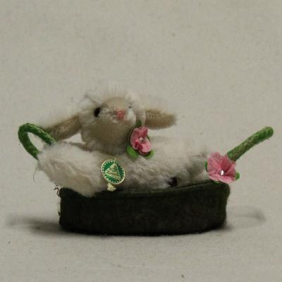 Lying Miniature Easter Lamb Molli in the basket 13 cm Teddy Bear by Hermann-Coburg