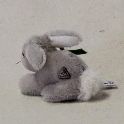 """Mohair Miniature Bunny """"Hansi"""" with baby-carrot 9 cm Teddy Bear by Hermann-Coburg"""