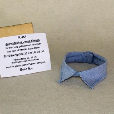 Jugendlicher Jeans-Kragen für den jung gebliebenen Teddybär siehe Details in der Produkterklärung oben für alle Daten in  cm Teddy Bear by Hermann-Coburg