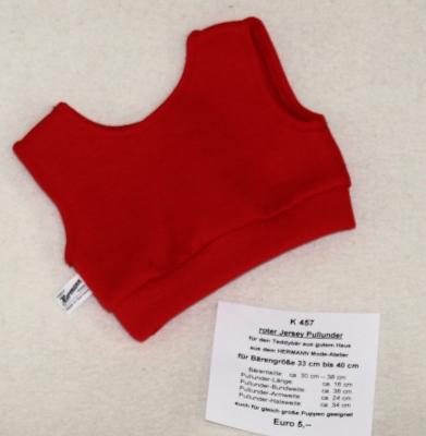 roter Jersey Pullunder für den Teddybär aus gutem Haus