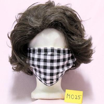 Wiederverwendbare Mund- und Nasen-Behelfsmaske karo schwarz/weiß doppellagig Modacryl/Baumwolle/Modal Mischgewebe