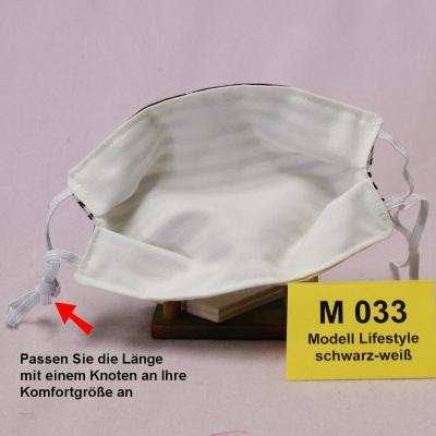 Wiederverwendbare Mund- und Nasen-Maske (Alltagsmaske) Lifestyle schwarz/weiß  mit verstellbaren Ohrschlaufen