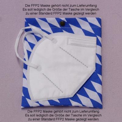 Hygienische Aufbewahrungstasche für FFP2 Masken für unterwegs Modell Bayern-Raute weiß-blau