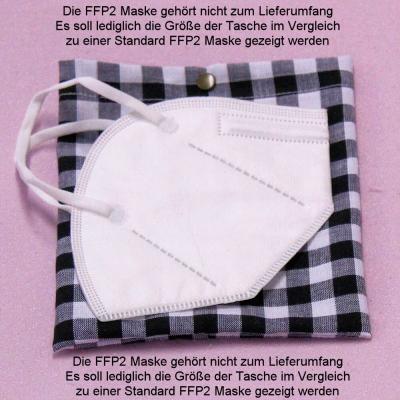Hygienische Aufbewahrungstasche für FFP2 Masken für unterwegs Modell schwarz-weiß kariert
