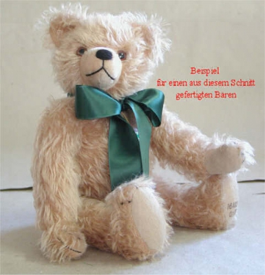 Teddybären Schnitt Casimir Bär mit eingenähter Schnauze und eingenähten Ohren