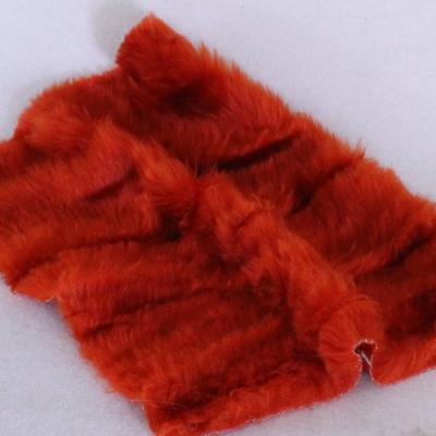 Vintage langfloriger Haarplüsch rost-rot 40 x 40 cm