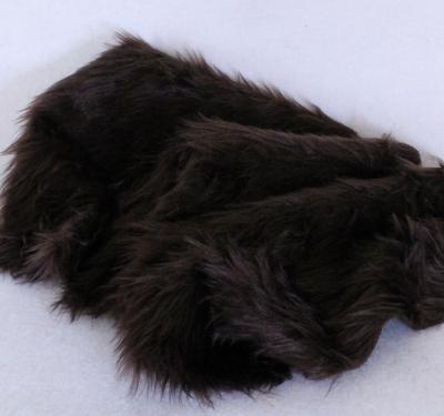 Vintage langfloriger Haarplüsch dunkles erd-braun 40 x 40 cm