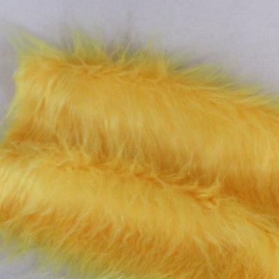 Vintage langfloriger Haarplüsch Flor: 100 mm gelb 40 x 40 cm