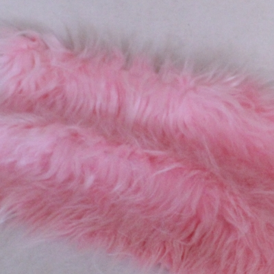 Vintage langfloriger Haarplüsch rosa 40 x 40 cm