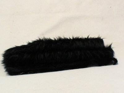 Vintage langfloriger Haarplüsch schwarz schwarz 40 x 40 cm