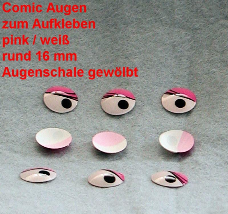 Comicfiguren Kunststoff Bastelaugen Pinkweiß Rund 16 Mm