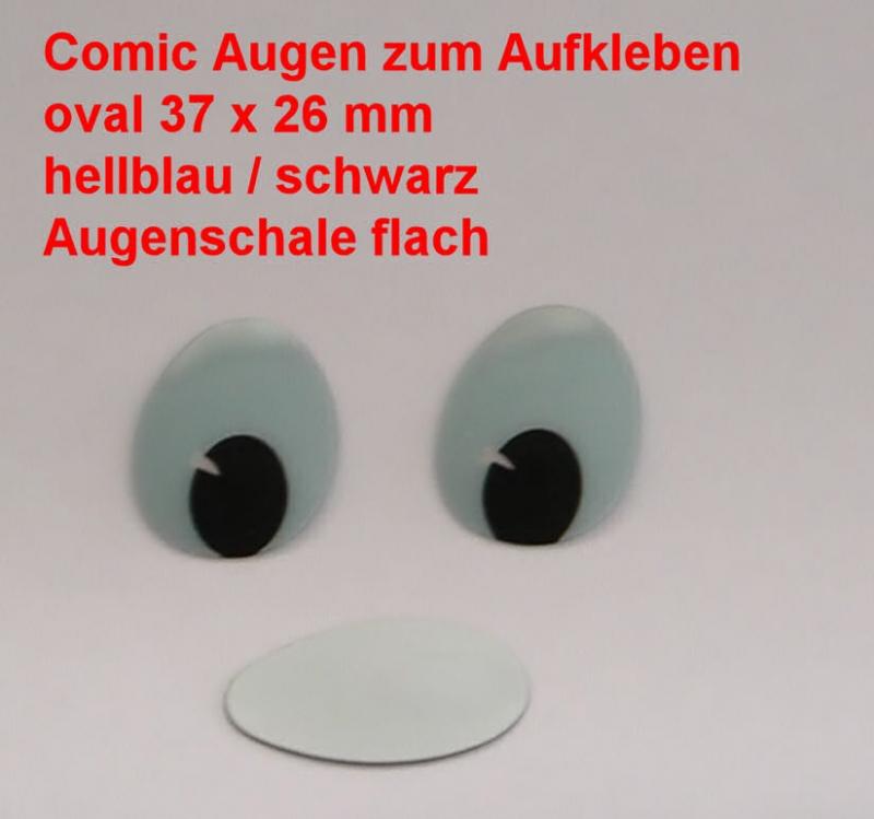 Comicfiguren Kunststoff Bastelaugen Hellblauschwarz Oval 37x 26 Mm