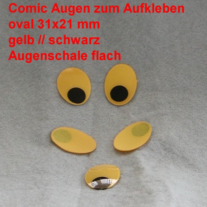 Comicfiguren Kunststoff Bastelaugen Gelbschwarz Oval 31x 21 Mm
