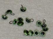 Vintage Glasaugen an Öse, grün 3mm oder 6mm mit runder Pupille