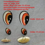 Comicfiguren Kunststoff Bastelaugen (weiß/orange/gold/schwarz) mit Öse oval 2 Größen