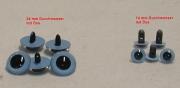 Kunststoff Bastelaugen, rund hell-blau mit Öse (14 mm oder 24 mm)