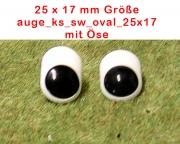 Kunststoff Bastelaugen, schwarz/weiß mit Öse oval (25 x 17mm)