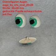 Comicfiguren Kunststoff Bastelaugen (türkis/schwarz) mit Öse oval (20x28mm)