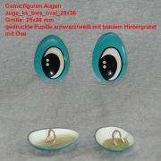 Comicfiguren Kunststoff Bastelaugen (blau/weiß/schwarz) mit Öse oval (25x36mm)