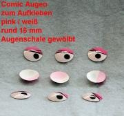 Comicfiguren Kunststoff Bastelaugen (pink/weiß) rund 16 mm