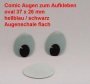 Comicfiguren Kunststoff Bastelaugen (hellblau/schwarz) oval 37x 26 mm