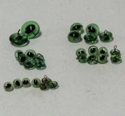 Vintage Katzen Glasaugen an Öse, grünmit elliptischer Pupille