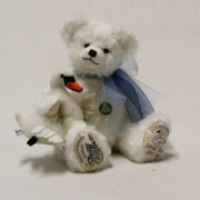 Swan Bear Schloss Neuschwanstein with a little mohair swan in the arm 35 cm Teddy Bear by Hermann-Coburg
