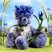 Cornflower - Kornblume Teddy Bear by Hermann-Coburg