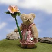 Kleines Blumenmädchen mit Heckenröschen 23 cm Mohair  Teddybär von Hermann-Coburg