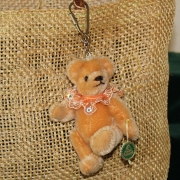 Teddy-Pendant Gold-brown Miniature- Mohair-Teddy Piccolo 11 cm Teddy Bear by Hermann-Coburg