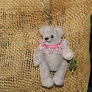 Teddy-Pendant light grey Miniature- Mohair-Teddy Piccolo 11 cm Teddy Bear by Hermann-Coburg