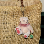 Teddy-Pendant delicate pink Miniature- Mohair-Teddy Piccolo 11 cm Teddy Bear by Hermann-Coburg