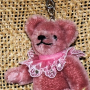 Teddy-Pendant antique pink Miniature- Mohair-Teddy Piccolo 11 cm Teddy Bear by Hermann-Coburg