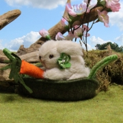Miniature Bunny Hopsi in the basket 10 cm Teddy Bear by Hermann-Coburg