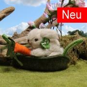 Miniatur Häschen Hopsi im Körbchen 10 cm Teddybär von Hermann-Coburg