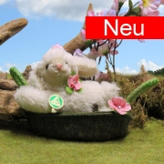 Lying Miniature Easter Lamb Molli in the basket 13 cm Teddy Bear by Hermann-Coburg